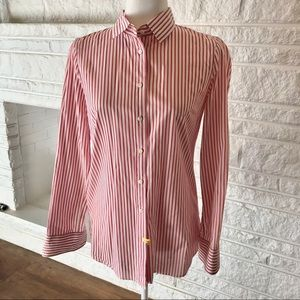 J. Crew Red & White Boy Fit Women's Shirt
